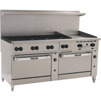 Vulcan 72SC-8B-24GT-P Endurance 8 Burner 72 inch Liquid Propane Thermostatic Range with 24 inch Griddle and One Standard / One Convection Oven - 350,000 BTU
