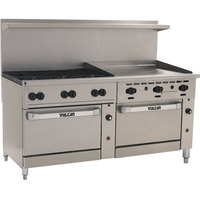 Vulcan 72SS-6B36GN Endurance 6 Burner 72 inch Natural Gas Manual Range with 36 inch Griddle and 2 Standard Ovens - 310,000 BTU