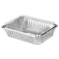 Durable Packaging 250-30-P250 2 1/4 lb. Rectangular Foil Pan with Clear Dome Lid - 25/Pack