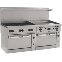Vulcan 72SS-6B36GTP Endurance 6 Burner 72 inch Liquid Propane Thermostatic Range with 36 inch Griddle and 2 Standard Ovens - 310,000 BTU