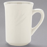 Tuxton YEM-080 Monterey 7.5 oz. Ivory (American White) Embossed Rim China Mug - 36/Case