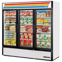 True GDM-72F-LD White Glass Door Merchandiser Freezer with LED Lighting
