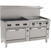 Vulcan 72SC-6B-36G-P Endurance 6 Burner 72 inch Liquid Propane Manual Range with 36 inch Griddle and One Standard / One Convection Oven - 310,000 BTU
