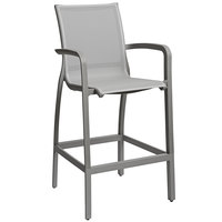 Grosfillex US463289 Sunset Solid Gray Resin Sling Bar Height Arm Chair with Platinum Gray Seat - 4/Pack