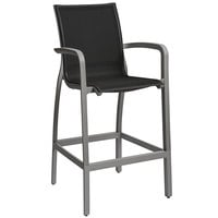Grosfillex US463288 Sunset Solid Gray Resin Sling Bar Height Arm Chair with Volcanic Black Seat - 4/Pack