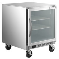 Beverage-Air UCR27A-25-LED 27 inch Compact Undercounter Refrigerator with Glass Door and LED Lighting