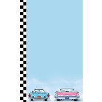 8 1/2 inch x 14 inch Menu Paper - Retro Themed Car Design Left Insert - 100/Pack