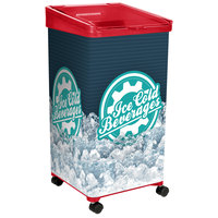 IRP 32 Qt. Red Micro Mobile Merchandiser / Cooler with LED Light - 16 inch x 16 inch x 32 inch