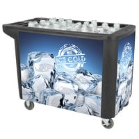 280 Qt. Black Merchandiser / Cooler Push Cart - 53 inch x 30 inch x 39 inch