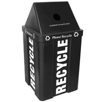 48 Gallon Black Stackable Recycling Bin with V-Shaped Lid