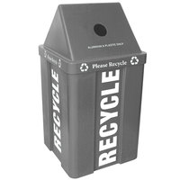 48 Gallon Gray Stackable Recycling Bin with V-Shaped Lid