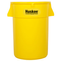 Continental 4444YW Huskee 44 Gallon Yellow Round Trash Can