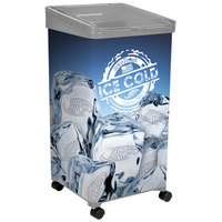 32 Qt. Gray Micro Mobile Merchandiser / Cooler with LED Light - 16 inch x 16 inch x 32 inch