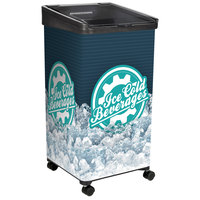 IRP 32 Qt. Black Micro Mobile Merchandiser / Cooler with LED Light - 16 inch x 16 inch x 32 inch
