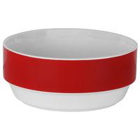 10 Strawberry Street FELIX-7-RED Felix 22 oz. White Porcelain Soup Bowl with Red Rim - 16/Case