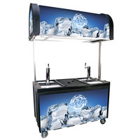 IRP 2060 IDC Black Ice Down Mobile Draft Cart with Illuminated Canopy - (2) 1/2 Keg