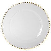 10 Strawberry Street BG-340 Belmont 13 inch Clear Glass Charger Plate with Gold Beading