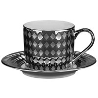 10 Strawberry Street CAIRO-9-SLV Cairo 7.5 oz. Silver Cup and Saucer Set - 24/Case