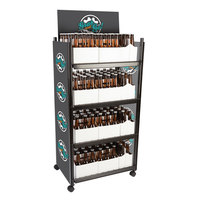 IRP WR-012 4-Shelf Beer and 6-Pack Display Rack - 23 inch x 16 1/2 inch x 52 inch