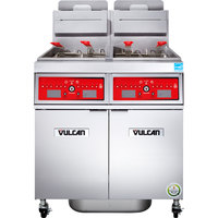 Vulcan 2VK65CF-1 PowerFry5 Natural Gas 130-140 lb. 2 Unit Floor Fryer System with Computer Controls and KleenScreen Filtration - 160,000 BTU