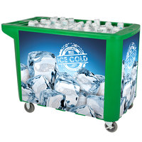 280 Qt. Green Merchandiser / Cooler Push Cart - 53 inch x 30 inch x 39 inch