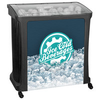 IRP 88 Qt. Black Avalanche Platinum Mobile Merchandiser / Cooler with LED Light - 30 inch x 18 inch x 32 inch