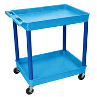 Luxor / H. Wilson BUTC11BU Blue 2 Tub Utility Cart - 24 inch x 32 inch x 37 1/2 inch