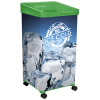 32 Qt. Green Micro Mobile Merchandiser / Cooler with LED Light - 16 inch x 16 inch x 32 inch