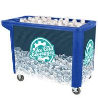 IRP 280 Qt. Blue Merchandiser / Cooler Push Cart - 53 inch x 30 inch x 39 inch