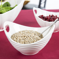 10 Strawberry Street WTR-7RBBOATBWL Whittier 24 oz. White Porcelain Boat Bowl with Ribbed Texture - 8/Case