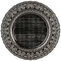 10 Strawberry Street GRECO-340SLV Greco 13 inch Black Silver Porcelain Back Charger Plate