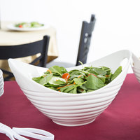 10 Strawberry Street WTR-13RBBOATBWL Whittier 80 oz. White Porcelain Boat Bowl with Ribbed Texture - 4/Case