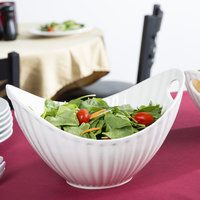 10 Strawberry Street WTR-13LNBOATBWL Whittier 80 oz. White Porcelain Boat Bowl with Line Texture - 4/Case