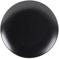 10 Strawberry Street WM-1-BLK Wazee Matte 10 1/2 inch Round Black Stoneware Dinner Plate   - 24/Case