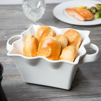 10 Strawberry Street A7419-W Whittier 48 oz. White Square Ruffle Bowl with Handles   - 8/Case