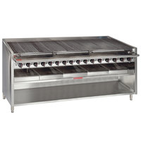 MagiKitch'n FM-RMB-672CR-LP 72 inch Liquid Propane Radiant Charbroiler with Cabinet Base - 240,000 BTU
