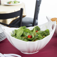 10 Strawberry Street WTR-13WVBOATBWL Whittier 80 oz. White Porcelain Boat Bowl with Wave Texture - 4/Case