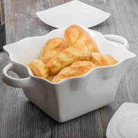 10 Strawberry Street A7420-W Whittier 80 oz. White Square Ruffle Bowl with Handles   - 6/Case