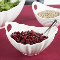 10 Strawberry Street WTR-7WVBOATBWL Whittier 24 oz. White Porcelain Boat Bowl with Wave Texture - 8/Case
