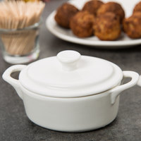 10 Strawberry Street A6176 Whittier 4 oz. White Oval Porcelain Tureen with Lid - 48/Case