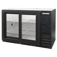 Beverage Air BB48GSY-1-B-LED 48 inch Black Back Bar Refrigerator with 2 Sliding Glass Doors - 115V, LED Lighting