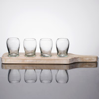 10 Strawberry Street TELL-5CDMNTSHOT Telluride 15 1/2 inch x 4 inch x 4 inch White Wash Wood Tray with 4 Glasses