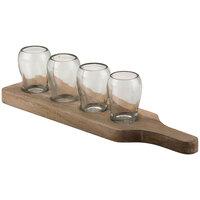 10 Strawberry Street TELL-5CDMNTSHOT Telluride 15 1/2 inch x 4 inch x 4 inch White Wash Wood Tray with 4 Glasses