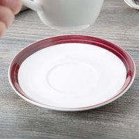 10 Strawberry Street BISTRO-10S-RAS Raspberry Rim Bistro 5 3/4 inch Round Porcelain Tea Saucer - 48/Case
