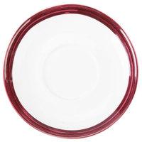 10 Strawberry Street BISTRO-10S-RAS Raspberry Rim Bistro 5 3/4 inch Round Tea Saucer - 48/Case
