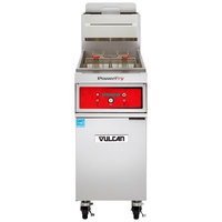Vulcan 1TR65D-1 PowerFry3 Natural Gas 65-70 lb. Floor Fryer with Solid State Digital Controls - 80,000 BTU