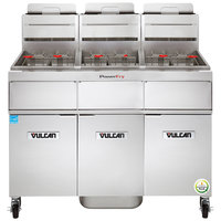 Vulcan 3TR45AF-2 PowerFry3 Liquid Propane 135-150 lb. 3 Unit Floor Fryer System with Solid State Analog Controls and KleenScreen Filtration - 210,000 BTU