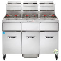 Vulcan 3TR45AF-1 PowerFry3 Natural Gas 135-150 lb. 3 Unit Floor Fryer System with Solid State Analog Controls and KleenScreen Filtration - 210,000 BTU