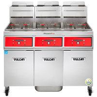 Vulcan 3TR65DF-2 PowerFry3 Liquid Propane 195-210 lb. 3 Unit Floor Fryer System with Digital Controls and KleenScreen Filtration - 240,000 BTU