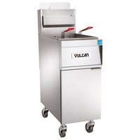 Vulcan 1TR85AF-1 PowerFry3 Natural Gas 85-90 lb. Floor Fryer with Solid State Analog Controls and KleenScreen Filtration System - 90,000 BTU